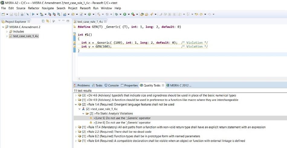Parasoft C/C++test Identifies all MISRA Amendment 2 Rule violations