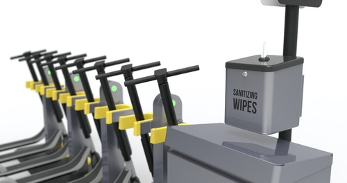 Swiftmile's new wipe dispenser addition for its Micromobility charging stations.