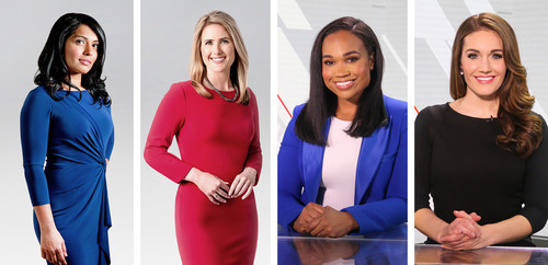 (L-R) Reshmi Nair, Host of NEWSNIGHT BY CTV NEWS; Heather Butts, Host of NEWSDAY BY CTV NEWS; Kayla Grey and Lindsay Hamilton, Hosts of SPORTS AM BY TSN (CNW Group/Bell Media)