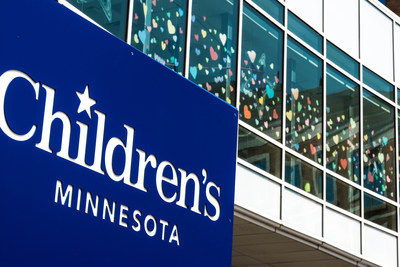 Children's Minnesota Minneapolis hospital skyway filled with paper hearts.