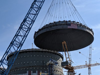 A Bechtel-led construction team lowering the massive reactor building dome on Unit 4, which is one of the only two new nuclear units under construction in the U.S. Plant Vogtle Units 3 and 4 are in Waynesboro, Georgia.