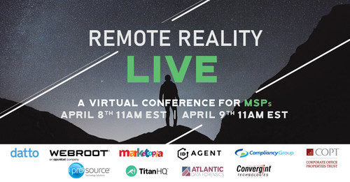 Blackpoint Cyber announces its virtual cyber security conference for MSPs - Remote Reality LIVE. Featuring a keynote from the former Acting Director of the CIA and sessions from tech giants Datto, Webroot, Marketopia, and more.