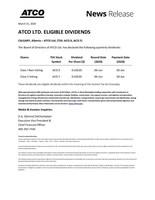 ATCO Q2-2020 Dividends (CNW Group/ATCO Ltd.)
