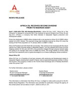 Africa Oil Receives Second Dividend from its Nigerian Asset (CNW Group/Africa Oil Corp.)