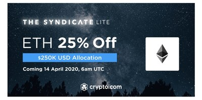 Crypto.com Exchange to offer ETH at 25% OFF with a $250,000 USD allocation for CRO stakers.