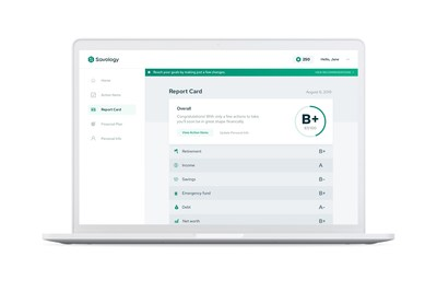 After creating a free financial plan, Savology users get access to a financial report card showing them their financial strengths and areas that need improving most.