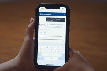 Watson Assistant for Citizens automates responses to frequently asked questions about COVID-19 on topics such as symptoms, testing and protective measures. (Credit: IBM)