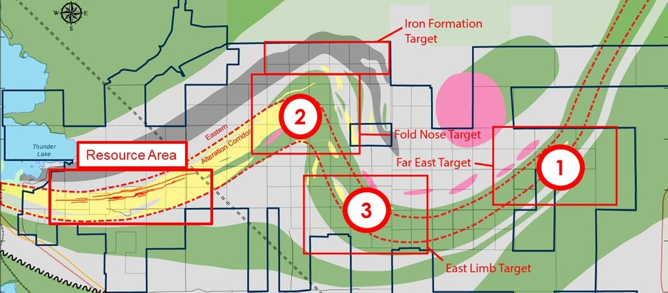 Figure 2: Goliath Gold Project Exploration Areas of Interest (CNW Group/Treasury Metals Inc.)