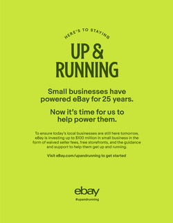 "eBay launched ""Up and Running,"" an accelerator program for retailers without an e-commerce presence who are looking to move their stores online. From waiving selling fees and providing seller education to individual support and guidance from the marketplace's experienced seller community, eBay is committed to supporting small businesses."