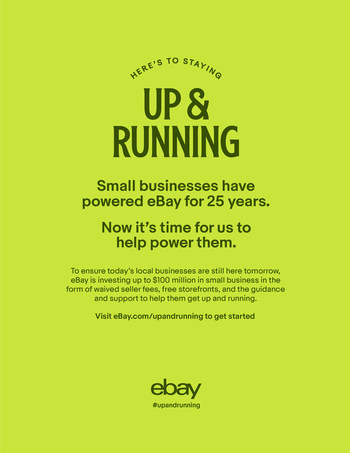"""eBay launched """"Up and Running,"""" an accelerator program for retailers without an e-commerce presence who are looking to move their stores online. From waiving selling fees and providing seller education to individual support and guidance from the marketplace's experienced seller community, eBay is committed to supporting small businesses."""