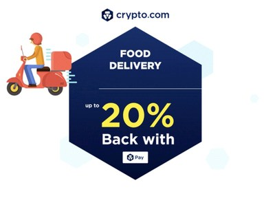20% back on food delivery and 10% back on groceries for Crypto.com Pay users (PRNewsfoto/Crypto.com)
