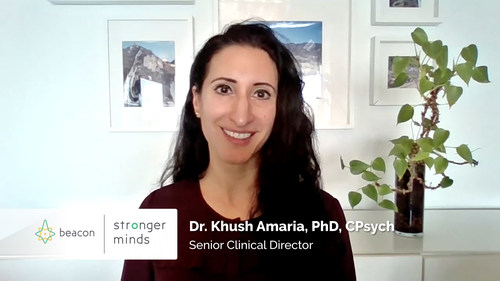 Dr. Khush Amaria, Ph.D., C.Psych., is one of the Stronger Minds by BEACON psychologists providing insights Canadians can use to protect their emotional well-being. (CNW Group/MindBeacon)