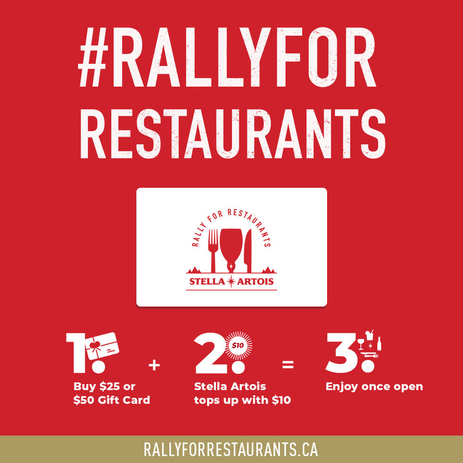 Stella Artois launches Rally for Restaurants gift card program to help local restaurants and bars (CNW Group/Stella Artois)