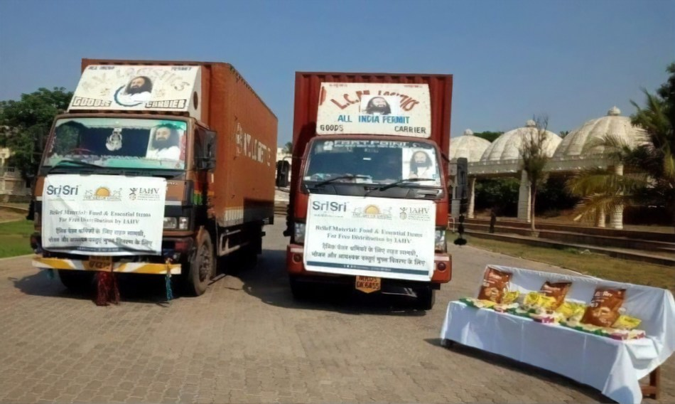 Truckload with relief materials