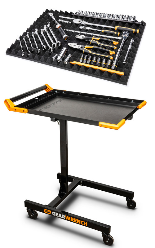 The new GEARWRENCH Flex Foam Universal Tool Storage System (#83370) and Mobile Work Table (#83166) help mechanics stay organized with customizable features that also keep them more comfortable on the job.