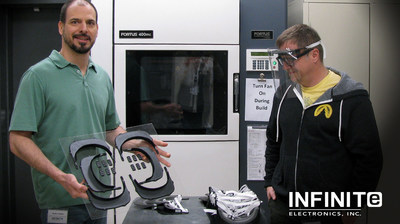 Infinite Electronics Produces & Donates 3D-Printed Reusable Face Shields for Healthcare Workers Battling COVID-19; pictured (L-R) Kevin Farrar, CNC Machinist and Walter Pierowski, Engineering Manager