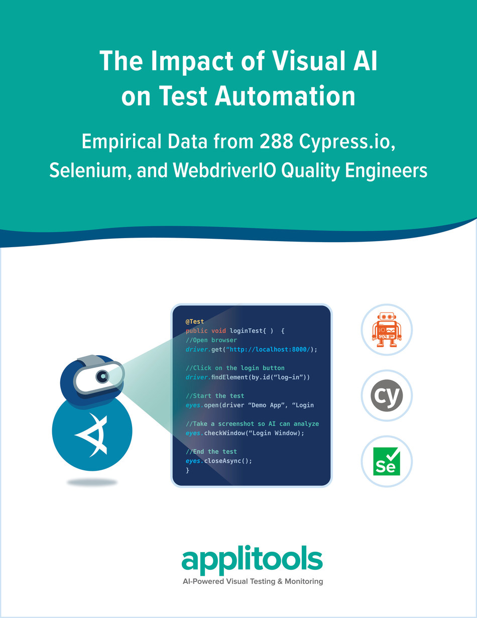 Empirical data from 288 Quality Engineers reveals how Applitools Visual AI helps teams release higher quality apps faster when using Cypress, Selenium, and WebdriverIO