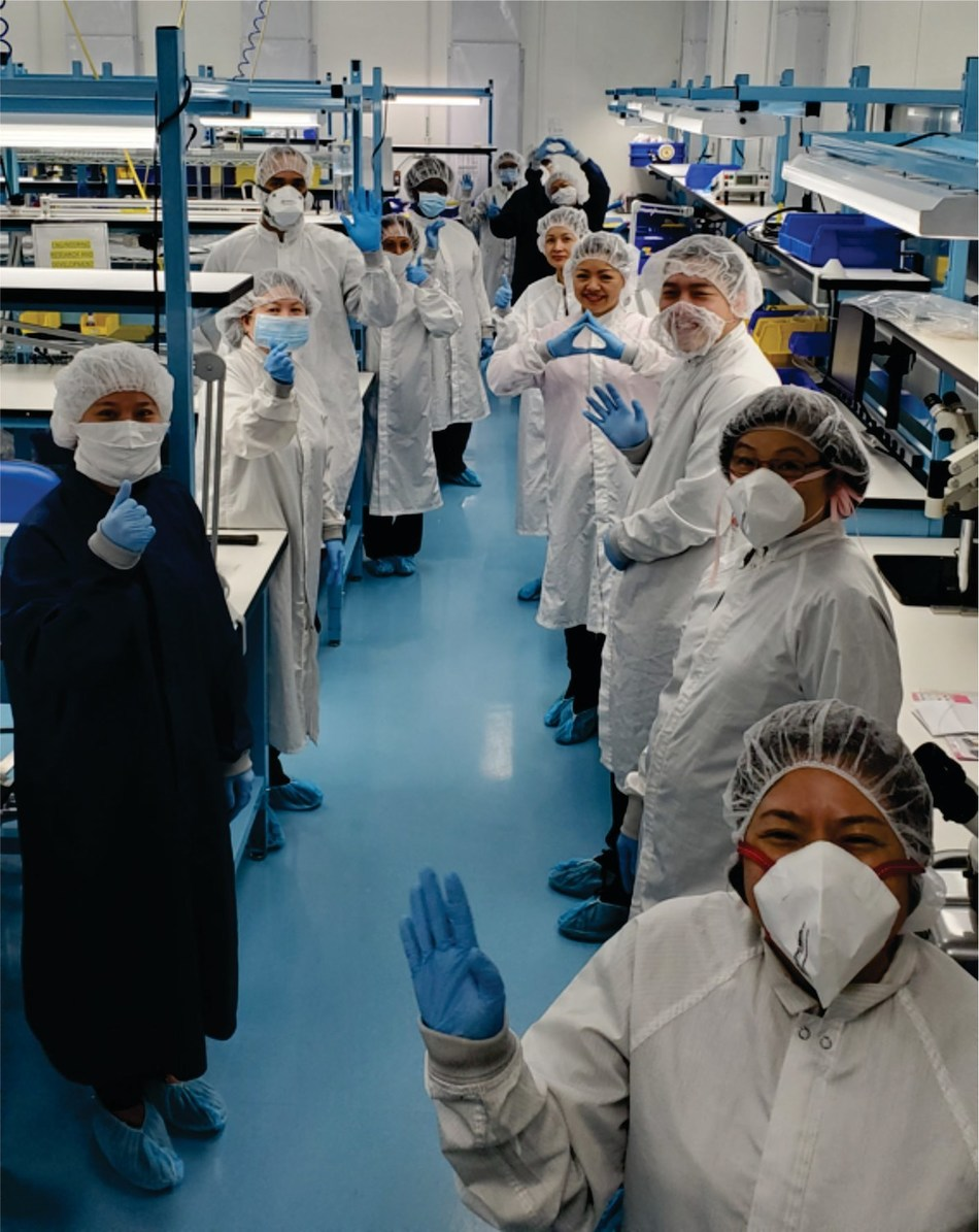Cleanroom team members who volunteered extra time to manufacture and package Primo Medical Group's 'Better Than Nothing' face masks.