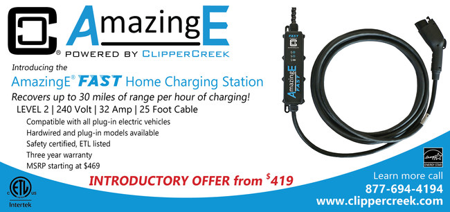 ClipperCreek is bringing more power and speed to its residential line of electric vehicle charging stations with the introduction of AmazingE FAST. The latest edition to this growing product family of EV charging stations offers speeds that are up to 7x faster than a Level 1 charging station with a special limited time introductory price starting at just $419.