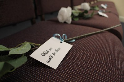 "Families grieving during the COVID-19 outbreak find comfort in Foundation Partners' ""Rose in Place"" program, in which family and friends send notes that are pinned to roses and placed in empty chairs that cannot be filled due to current guidelines limiting gatherings to 10 or fewer people."