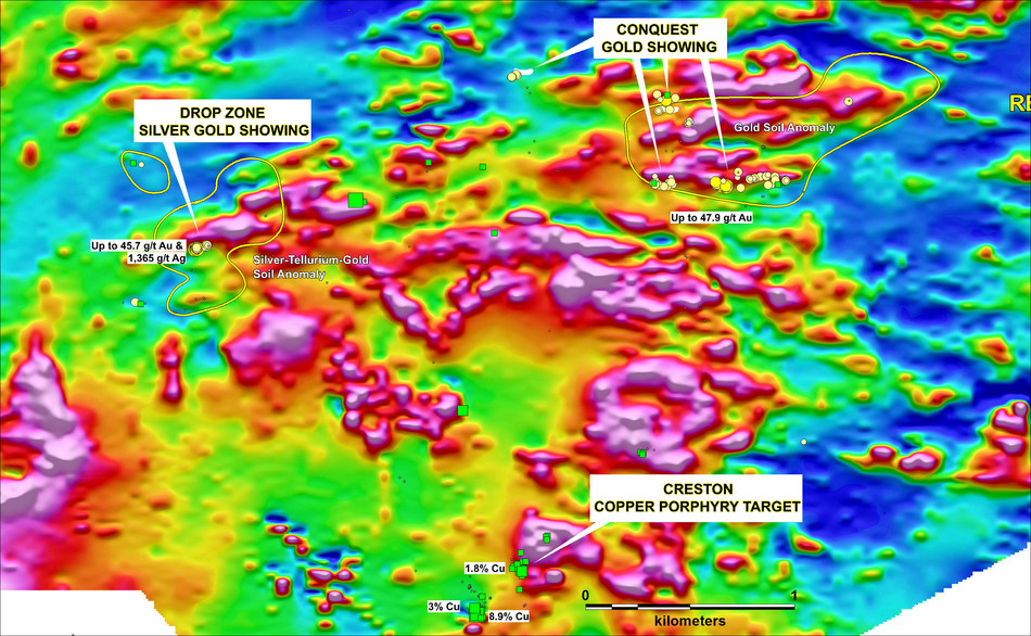 Figure 1. Lo action of the principal showings at Root & Cellar draped over the residual total magnetic intensity. Green squares and yellow dots represent copper and gold anomalous rock samples respectively. (CNW Group/Northern Shield Resources Inc.)
