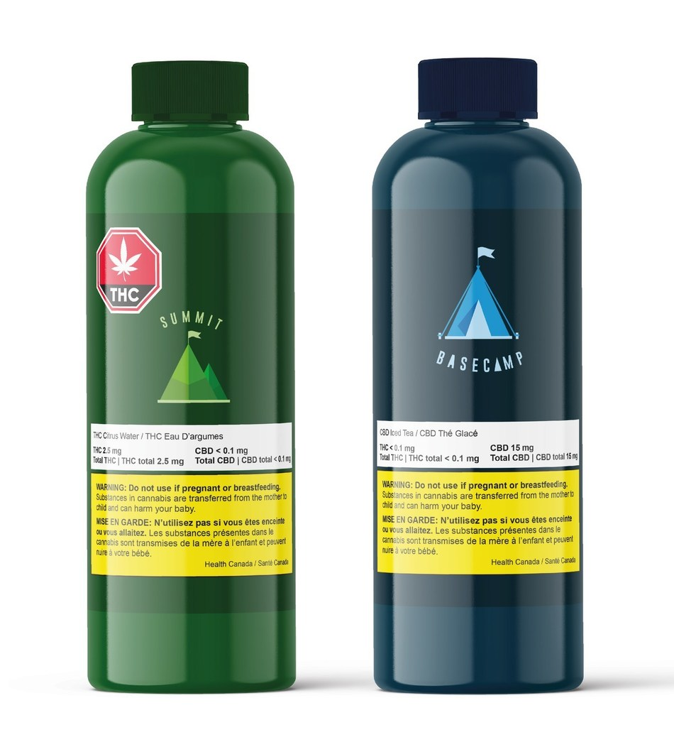 Summit THC Citrus Water (left) and Basecamp CBD Iced Tea (right). (CNW Group/A1 Cannabis Company)