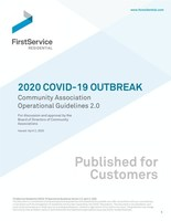 FirstService Residential Shares Guidebook to Help Community and Condominium Associations Everywhere Stay Healthy and Safe in Pandemic