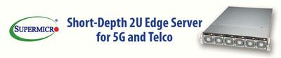 Supermicro apresenta o novo servidor compacto em 2U para redes 5G, Edge e de telecomunicações.