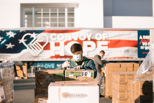 Convoy of Hope delivers meals across the United States to distribute to community organizations and churches to help feed people during this great time of need. Multiple trucks leave Convoy of Hope's World Distribution Center daily, delivering hope to vulnerable communities. (PRNewsfoto/Convoy of Hope)