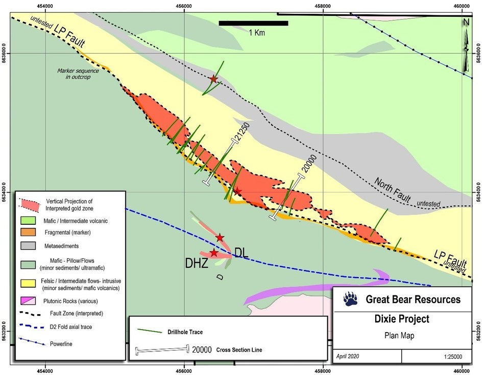 Figure 1: Location of drill sections contained in this release.  Reference grid squares are 2 kilometres. (CNW Group/Great Bear Resources Ltd.)