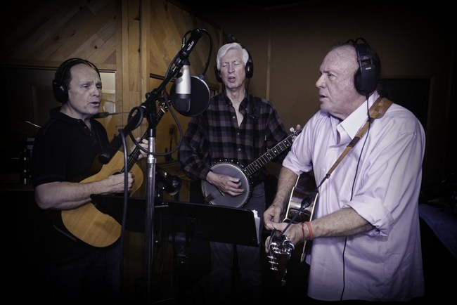 "(L to R): Don Marovich, Tim Gorelangton and Mike Marvin of The Kingston Trio recording ""Survivors"" in Los Angeles in March, 2020 (Photo Credit: Chris Devlin)"
