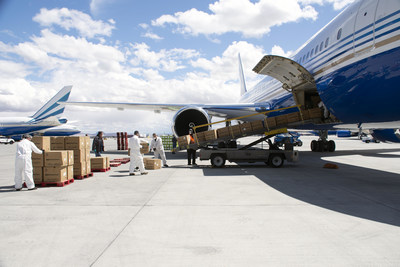 767 aircraft owned by Las Vegas Sands Chairman Sheldon G. Adelson and sent to Guangzhou, China to transport the protective gear, arrived in Las Vegas. An additional one million masks unloaded for front-line crisis response in Nevada.
