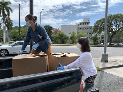 On April 8, 'Ohana Health Plan employees delivered 26,000 units of PPE to the Hawaii Hospital Education and Research Foundation (HHERF) at the Hawaii State Capitol in Honolulu.