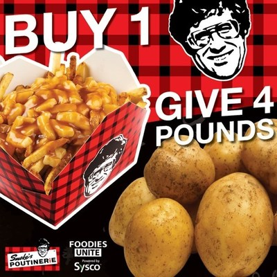 Smoke's Poutinerie and Sysco Canada Foodies Unite donate four pounds of potatoes for every one poutine sold! (CNW Group/Sysco Canada)