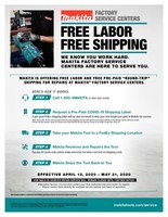 "Makita is offering free labor and free pre-paid ""round-trip"" shipping for repairs at Makita Factory Service Centers."