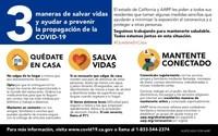 La Tarjeta de Recursos California Para Todos es una guía de información integral sobre la COVID-19, con información sobre cómo mantenerse a salvo en casa, cómo prevenir la propagación de la Covid-19 y dónde encontrar recursos comunitarios.
