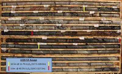 Figure 6 – Drill Hole LE20-53 Core Photo of Mineralization (CNW Group/IsoEnergy Ltd.)