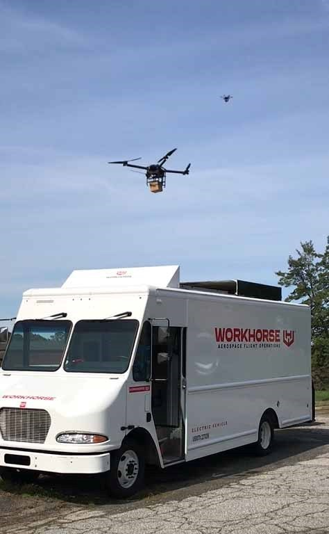 Workhorse currently holds a patent for operating parcel-delivery aircraft from the top of delivery vehicles.