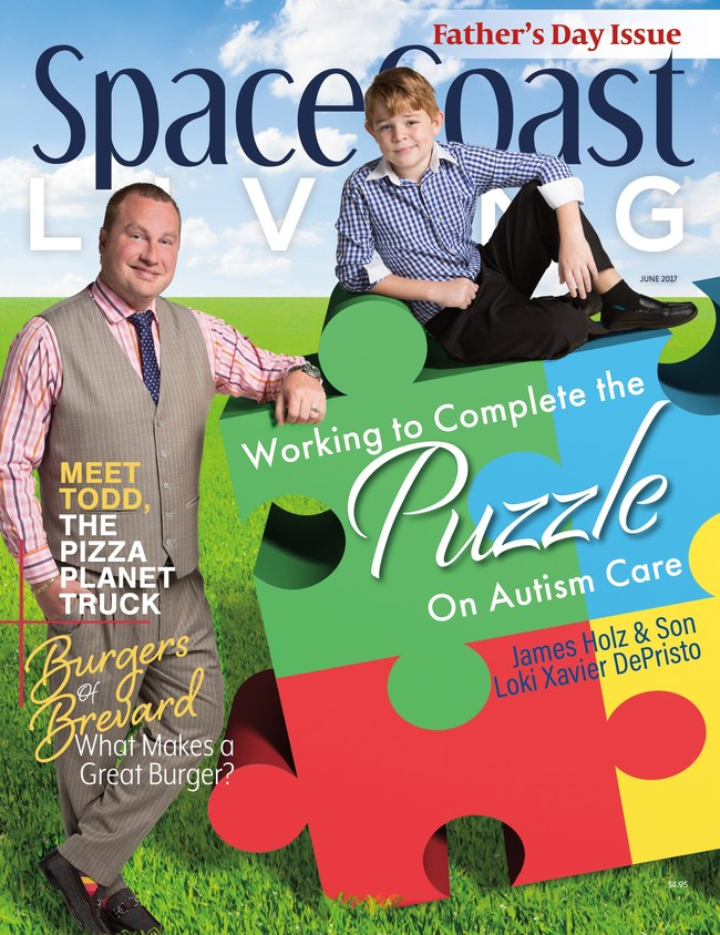 James Holz and son Loki Xavier on the cover of the June 2017 Father's Day issue of Florida's Space Coast Living Magazine.