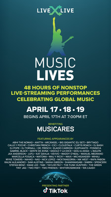 Music Lives, produced by LiveXLive, will feature 100+ artist and celebrity appearances and 48-hours of live entertainment in support of MusiCares COVID-19 Relief Fund. (PRNewsfoto/LiveXLive Media, Inc.)