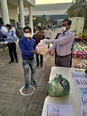 Grocery items being given to workforce at ACG factories
