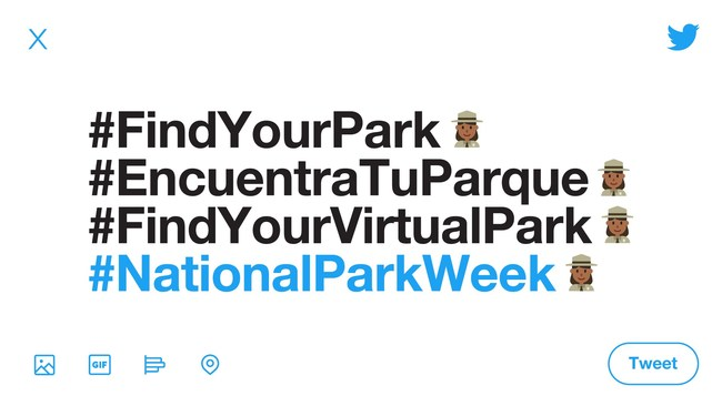 From April 16 through 26, a special limited-time park ranger emoji will appear alongside #FindYourPark, #EncuentraTuParque, #FindYourVirtualPark, and #NationalParkWeek on Twitter. It's a crowd favorite that is only available for a short time, so use it while you can! (Imagery courtesy of Twitter)