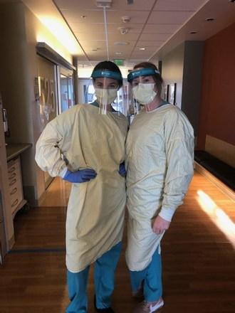 Nurses wearing Flow Face Shields