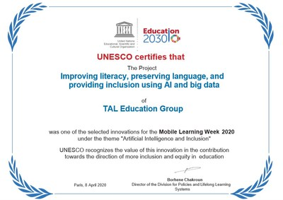 UNESCO certificate presented to TAL Education Group