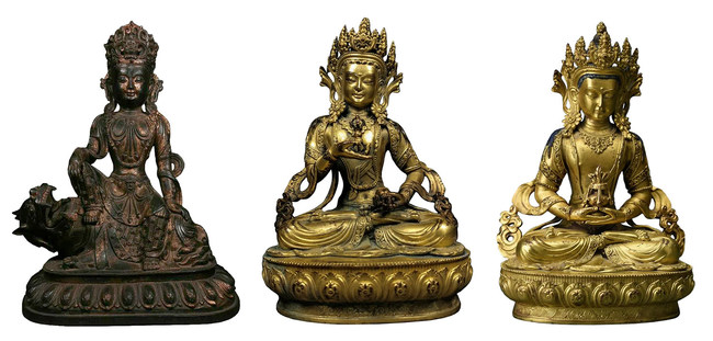 L to R: Lot 622 Large Chinese Ming bronze Guanyin, Ming Dynasty, 16th/17th century, weighs over 6kg, est. £4,000-£8,000; Lot 400 Fine Chinese gilt bronze figure of Vajrasattva, circa 1700 or earlier, est. £3,000-£5,000; Lot 353 Superbly modeled Chinese gilt bronze figure of Vajrasattva, circa 1700 or earlier, est. £3,000-£5,000