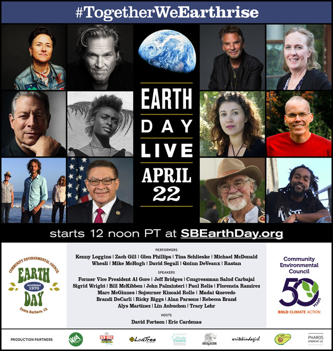 Speaker and performer line up of online festival happening April 22, 2020 to honor the 50th anniversary of Earth Day