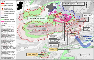 Exhibit 1. Denison and Tullacondra Prospects near Group Eleven's Stonepark / PG West Projects, Ireland (CNW Group/Group Eleven Resources Corp.)