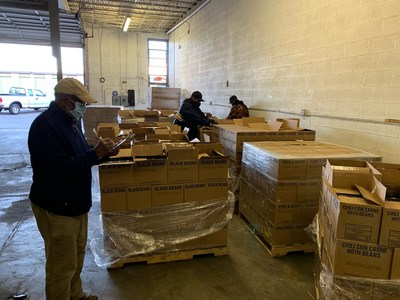 Food delivery items are inventoried at Nation's Mosque, Hyattsville, MD