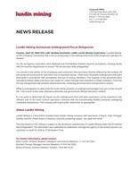Lundin Mining Announces Underground Fire at Zinkgruvan (CNW Group/Lundin Mining Corporation)