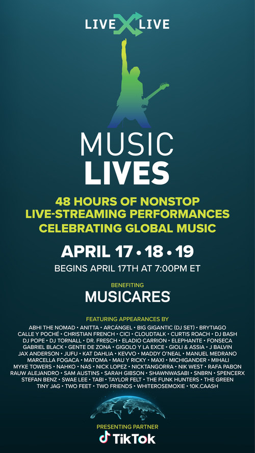 Music Lives, produced by LiveXLive, featured 100+ artist and celebrity appearances and 48-hours of live entertainment in support of MusiCares COVID-19 Relief Fund and drove over 2.3 billion video views on TikTok and 23.9 million views on its own platforms.